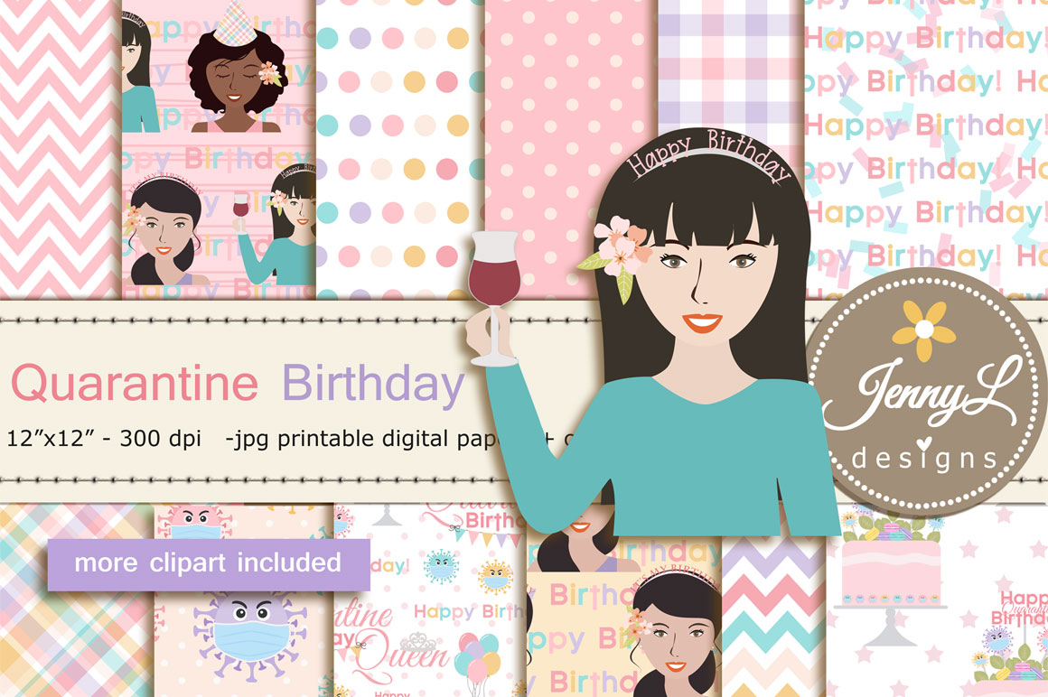 Download Free Quarantine Birthday Digital Papers Graphic By Jennyl Designs for Cricut Explore, Silhouette and other cutting machines.