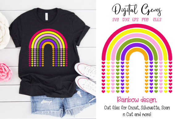 Download Free Rainbow Design Graphic By Digital Gems Creative Fabrica for Cricut Explore, Silhouette and other cutting machines.