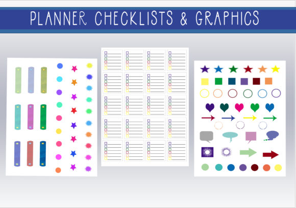 Print on Demand: Rainbow Planner Checklists & Stickers Graphic Print Templates By CapeAirForce