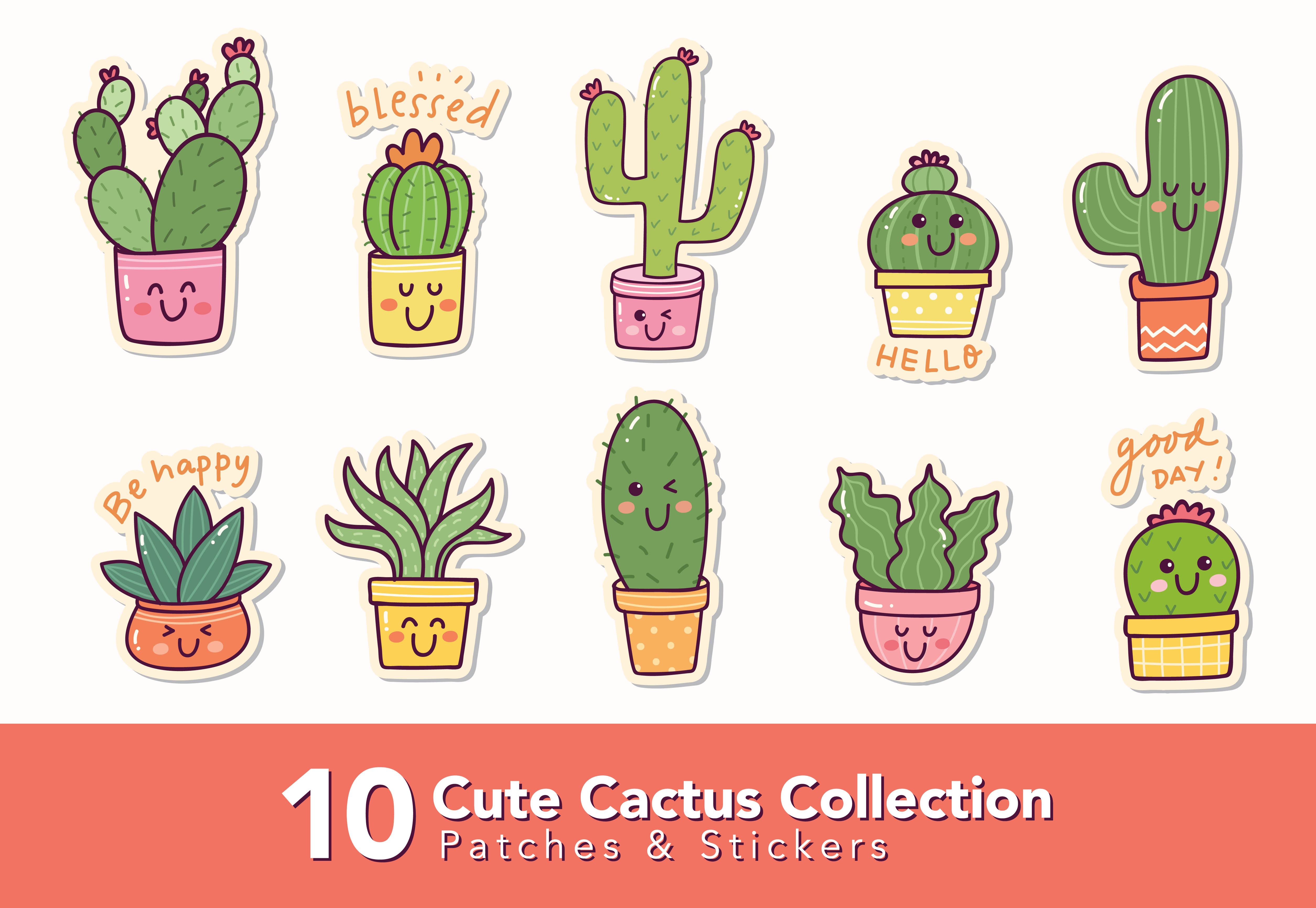 Download Free Set Of Cactus Sticker Graphic By Big Barn Doodles Creative Fabrica for Cricut Explore, Silhouette and other cutting machines.