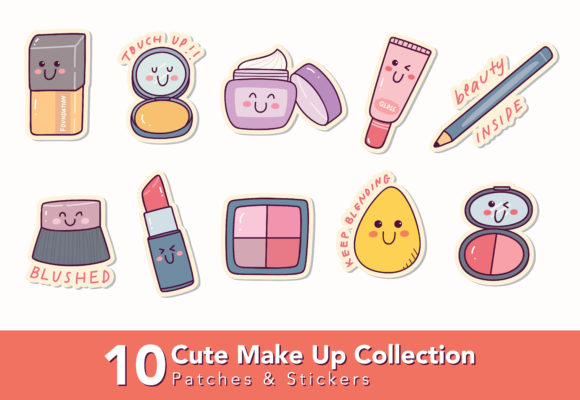 Set of Cute Make Up Patches and Sticker Graphic Illustrations By Big Barn Doodles