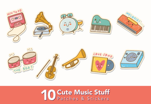 Download Free Set Of Cute Music Stuff Doodle Graphic By Big Barn Doodles for Cricut Explore, Silhouette and other cutting machines.
