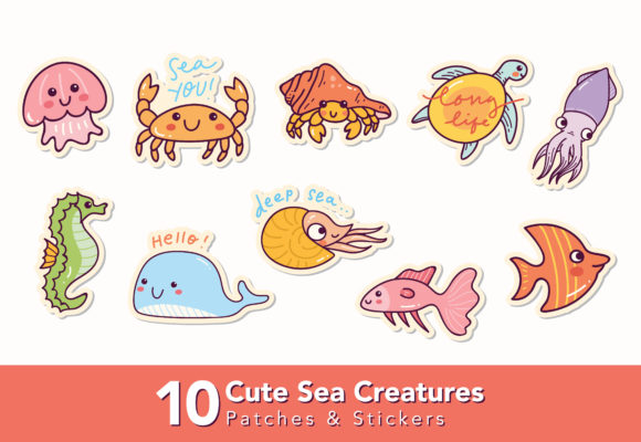 Set of Cute Sea Creatures Graphic Illustrations By Big Barn Doodles