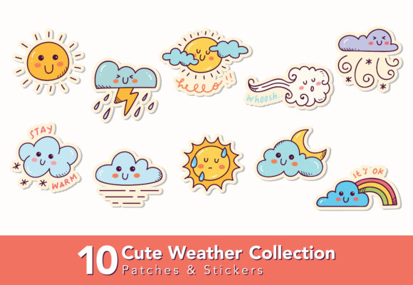 Download Free Set Of Cute Weather Doodle Graphic By Big Barn Doodles for Cricut Explore, Silhouette and other cutting machines.