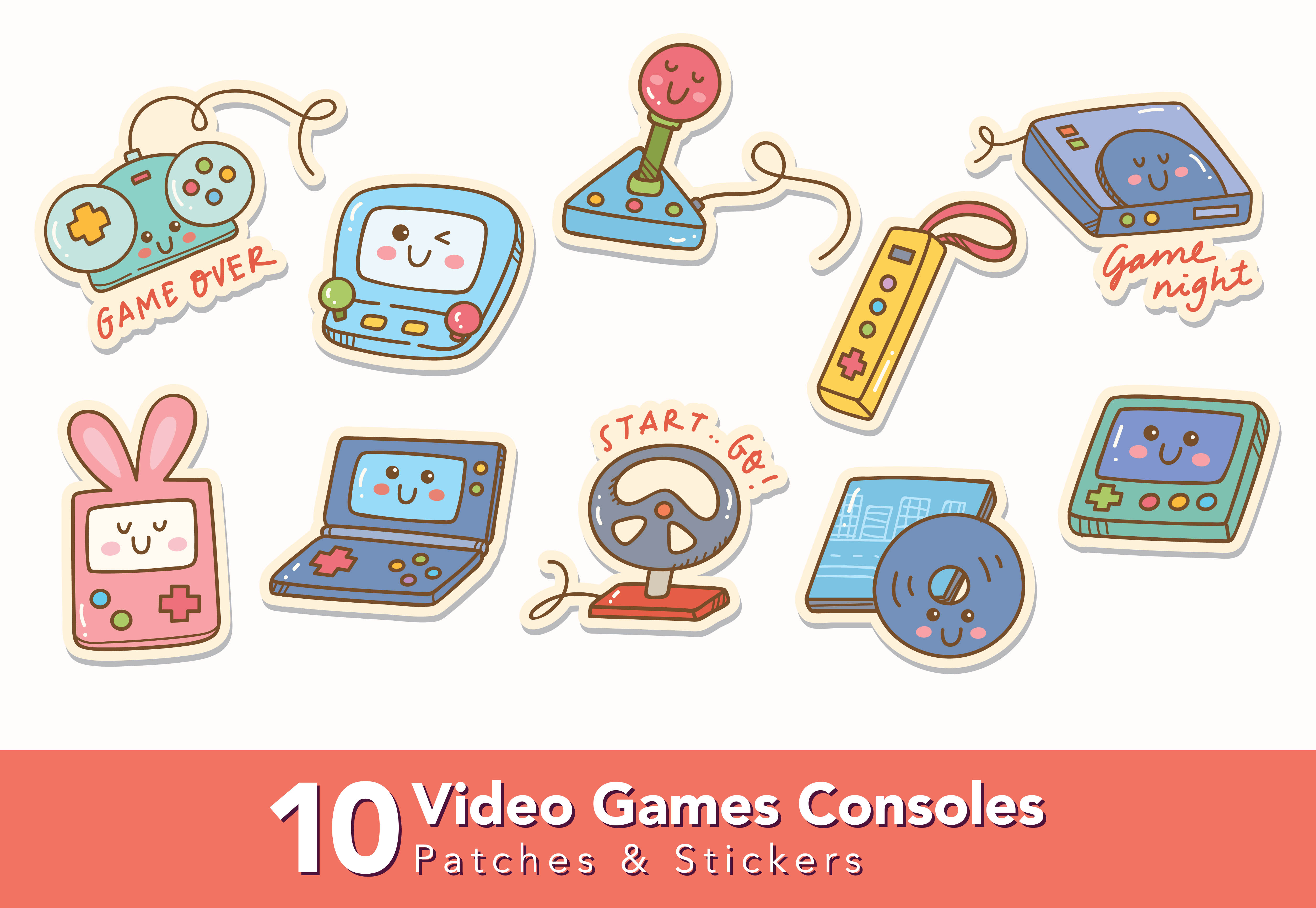Download Free Set Of Video Games Consoles Doodle Graphic By Big Barn Doodles for Cricut Explore, Silhouette and other cutting machines.