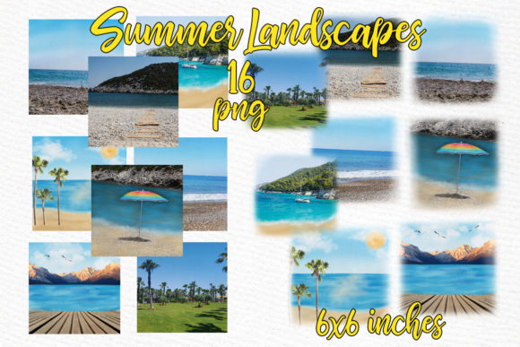 Summer and Beach Landscape Graphic Illustrations By LeCoqDesign