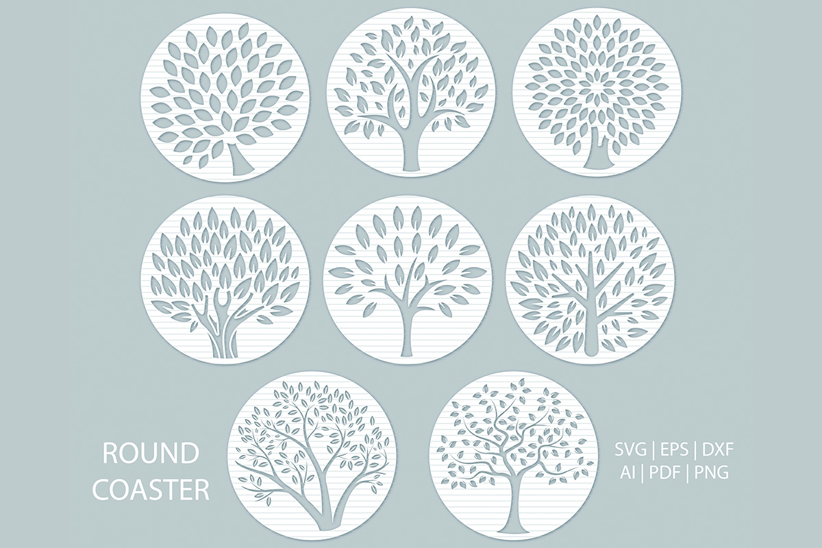Download Free Tree Coaster Cut File Templates Graphic By Meshaarts Creative for Cricut Explore, Silhouette and other cutting machines.