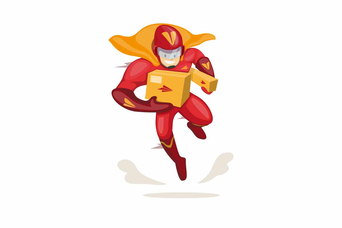Download Free Character Superhero Mascot Courier Box Graphic By Aryo Hadi for Cricut Explore, Silhouette and other cutting machines.