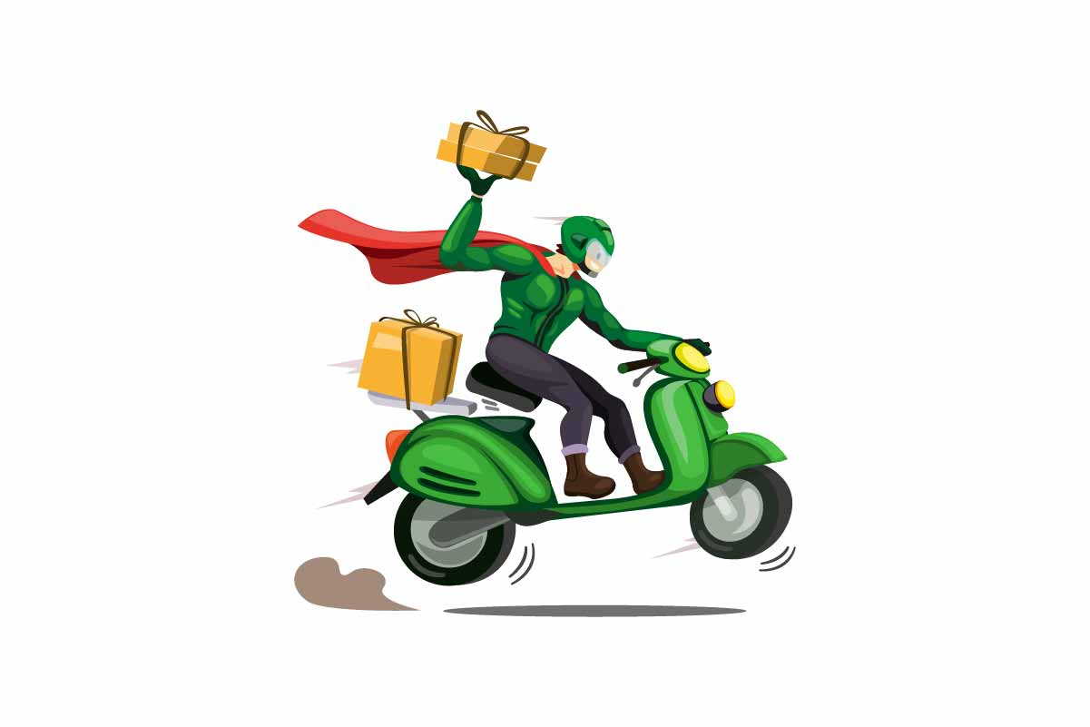 Download Free Courier Man With Cloak Delivery Package Graphic By Aryo Hadi for Cricut Explore, Silhouette and other cutting machines.