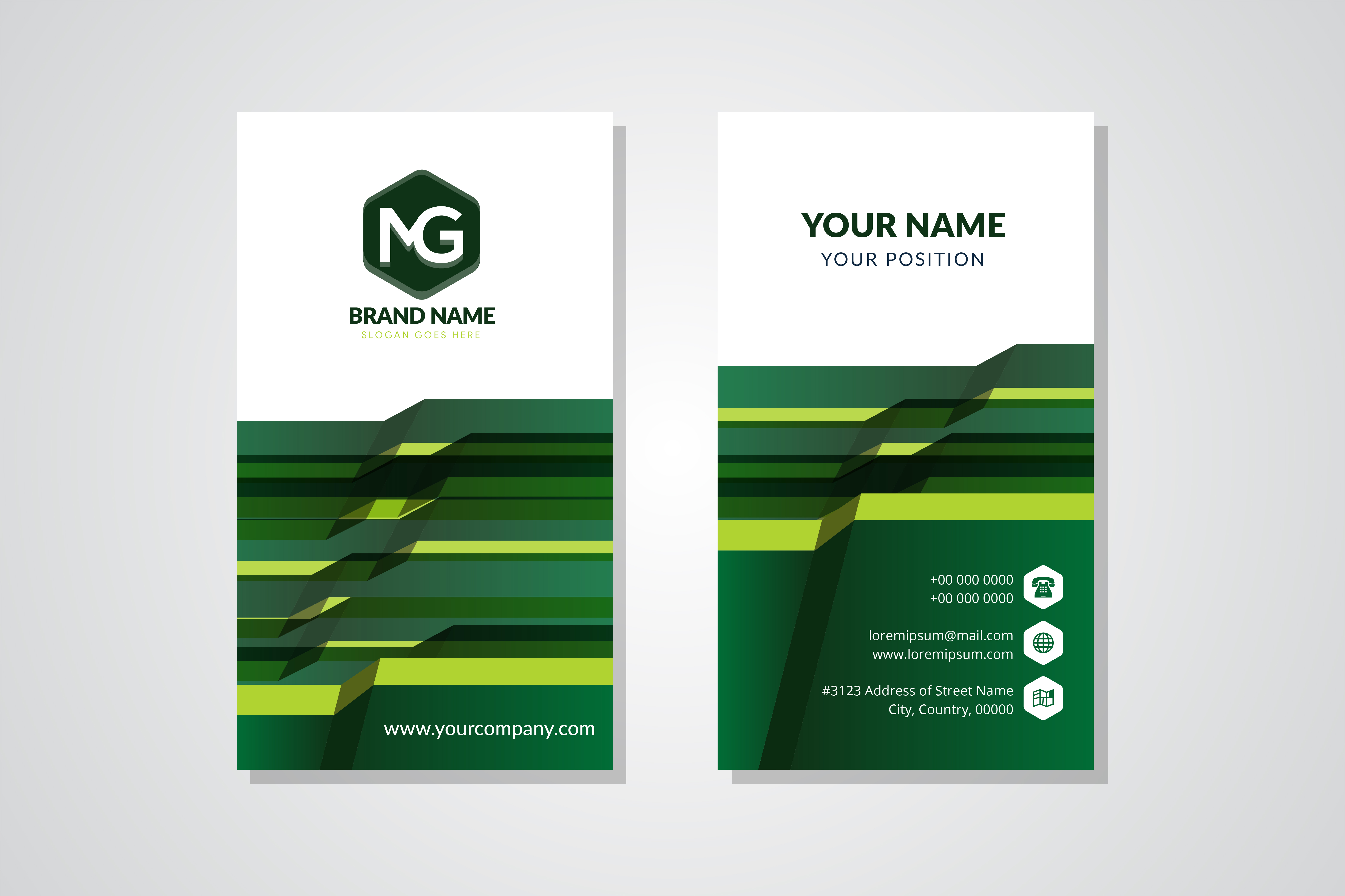 Download Free Green Vertical Business Card Abstract Grafik Von Noory Shopper for Cricut Explore, Silhouette and other cutting machines.