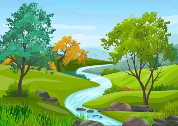 Illustration of Natural Landscape. Graphic Backgrounds By americodealmeida