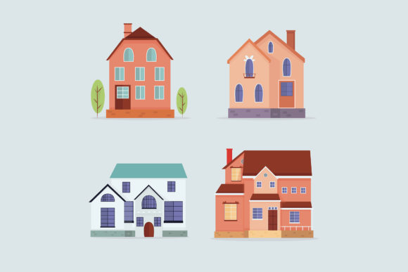 Download Free Modern Houses Flat Collection Graphic By Aprlmp276 Creative for Cricut Explore, Silhouette and other cutting machines.