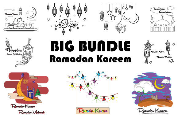 Download Free Ramadan Kareem Cute Line Ilustration Graphic By Iop Micro for Cricut Explore, Silhouette and other cutting machines.