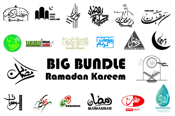 Download Free Ramadan Kareem Lettering Typographic Set Graphic By Iop Micro for Cricut Explore, Silhouette and other cutting machines.