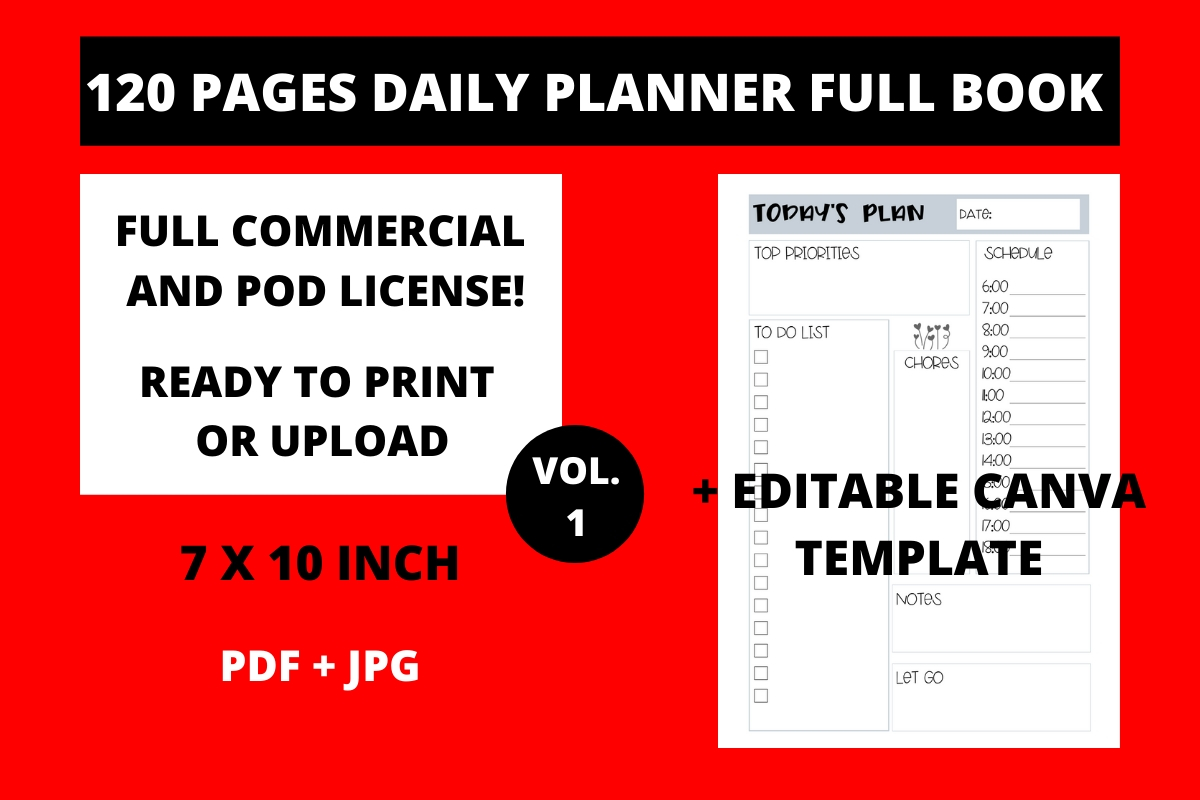 Download Free 120 Pages Daily Planner 7x10 Vol 1 Graphic By Fleur De Tango for Cricut Explore, Silhouette and other cutting machines.