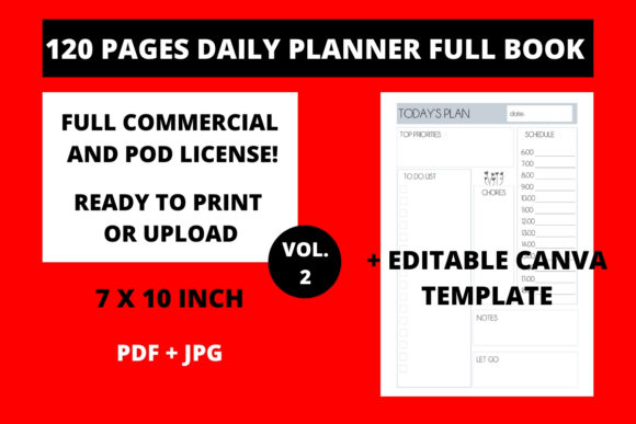 Print on Demand: 120 Pages Daily Planner 7x10 Vol.2 Graphic KDP Interiors By Fleur de Tango