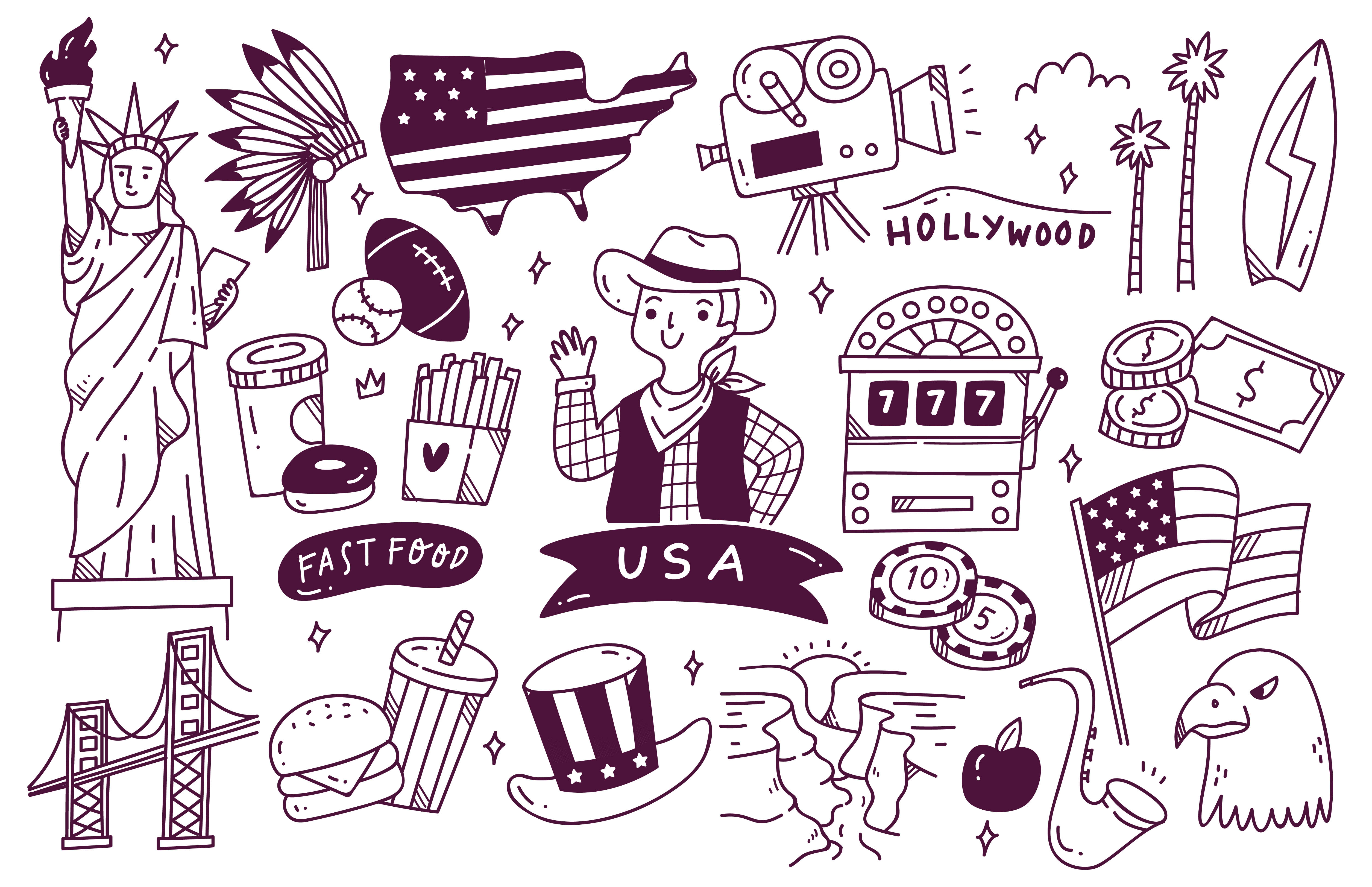 Download Free America Travel Destination Doodle Graphic By Big Barn Doodles for Cricut Explore, Silhouette and other cutting machines.