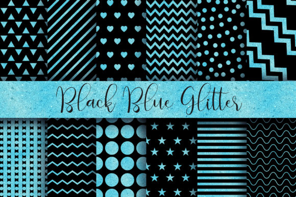 Black Blue Glitter Digital Papers Graphic Backgrounds By PinkPearly