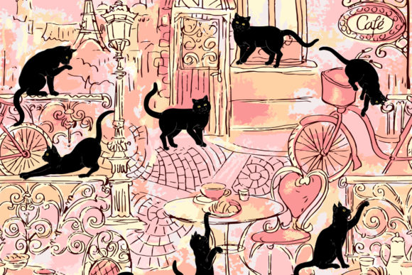 Download Free Black Cats In Paris On Pink Ackground Graphic By Emikundesigns for Cricut Explore, Silhouette and other cutting machines.