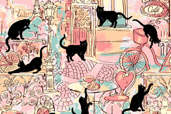 Black Cats in Paris Pink Green Graphic Patterns By emikundesigns