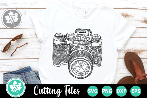Download Free Camera A Zentangle Graphic By Truenorthimagesca Creative Fabrica for Cricut Explore, Silhouette and other cutting machines.