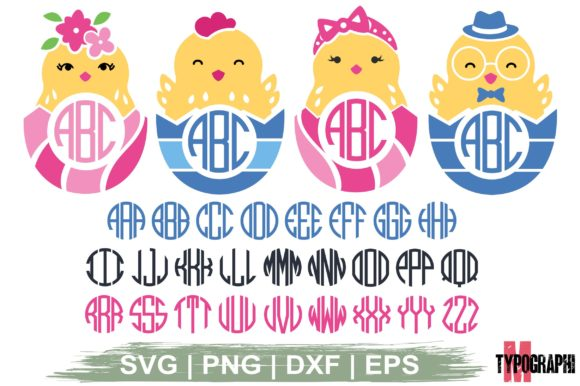 Download Free Chick In Eggshell Monogram Letters Graphic By Typography for Cricut Explore, Silhouette and other cutting machines.
