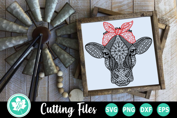 Cow Bandana - a Zentangle   Graphic Crafts By TrueNorthImagesCA