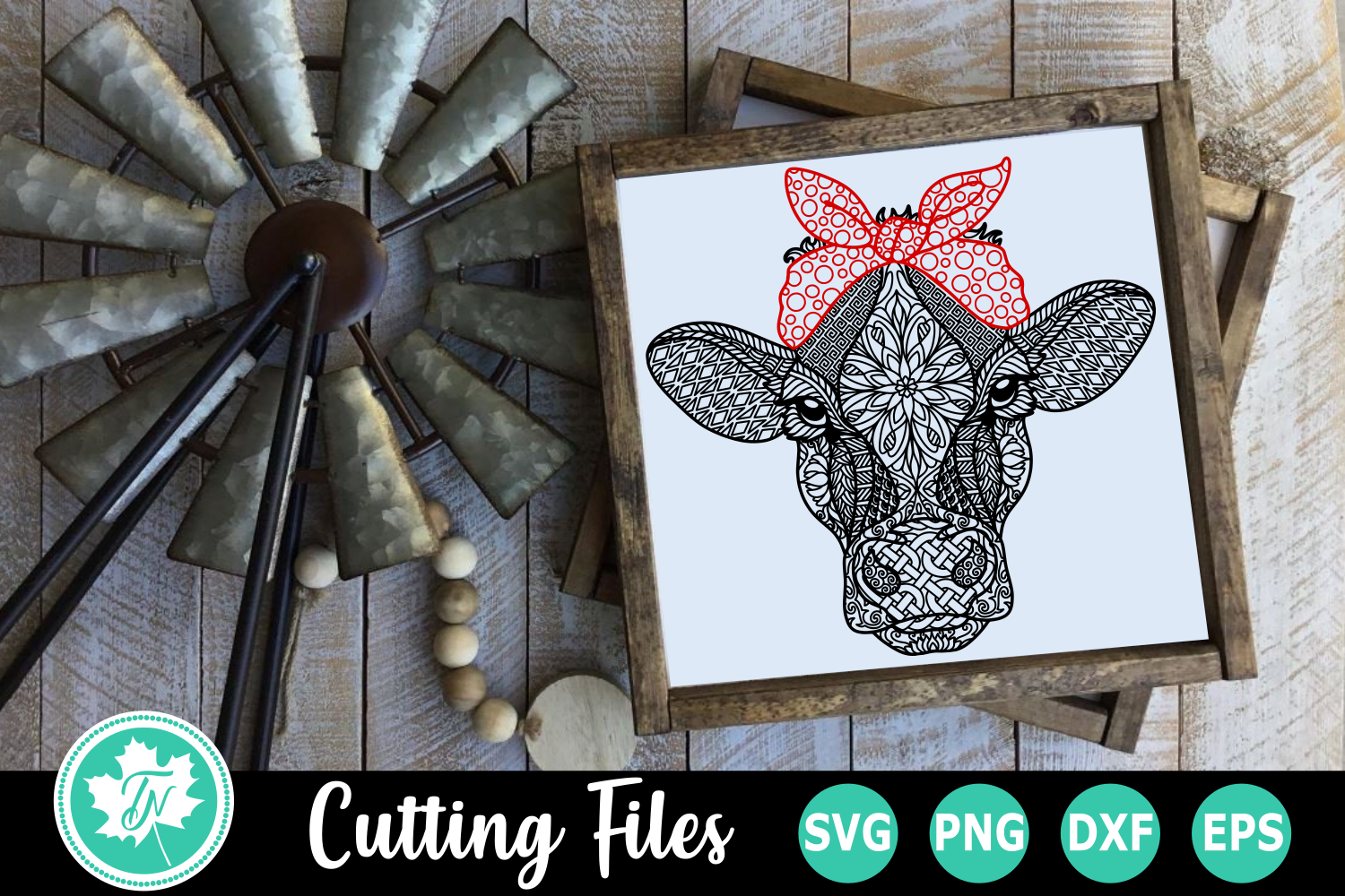 Download Free Cow Bandana A Zentangle Graphic By Truenorthimagesca for Cricut Explore, Silhouette and other cutting machines.