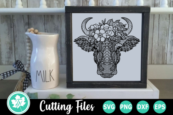 Download Free Cow Flowers A Zentangle Graphic By Truenorthimagesca for Cricut Explore, Silhouette and other cutting machines.