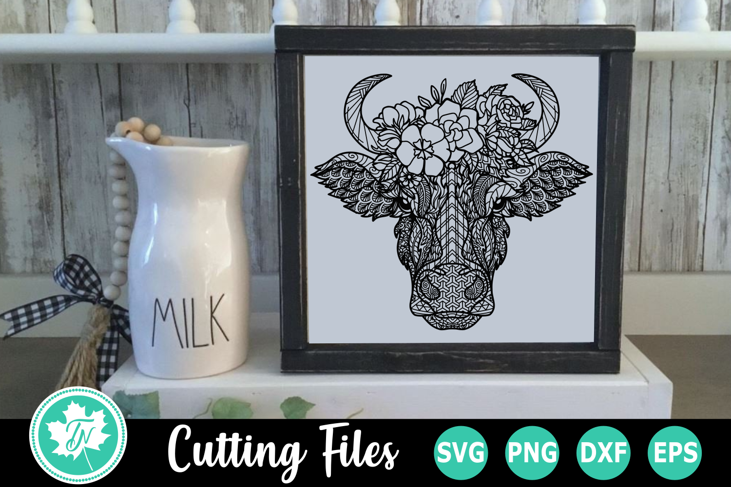 Download Free Cow Flowers A Zentangle Graphic By Truenorthimagesca Creative Fabrica for Cricut Explore, Silhouette and other cutting machines.