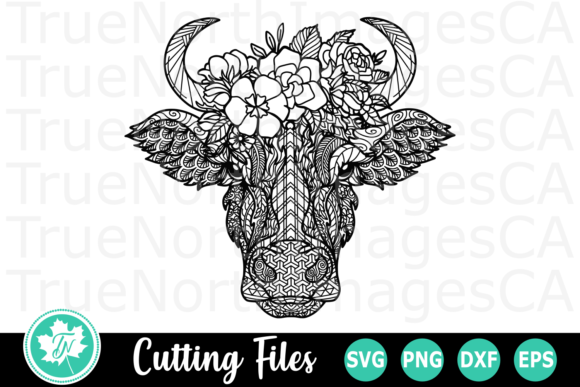 Cow Flowers A Zentangle Graphic By Truenorthimagesca