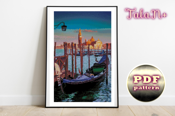Cross Stitch Pattern Venice Gondolas Graphic By Talanpluss