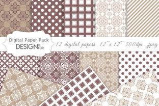 Print on Demand: Damask Digital Paper Pack, Patterns Graphic Textures By DesignItfor