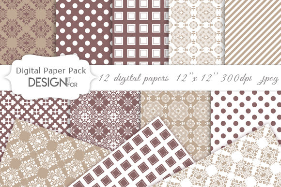 Download Free Damask Digital Paper Pack Patterns Graphic By Designitfor for Cricut Explore, Silhouette and other cutting machines.