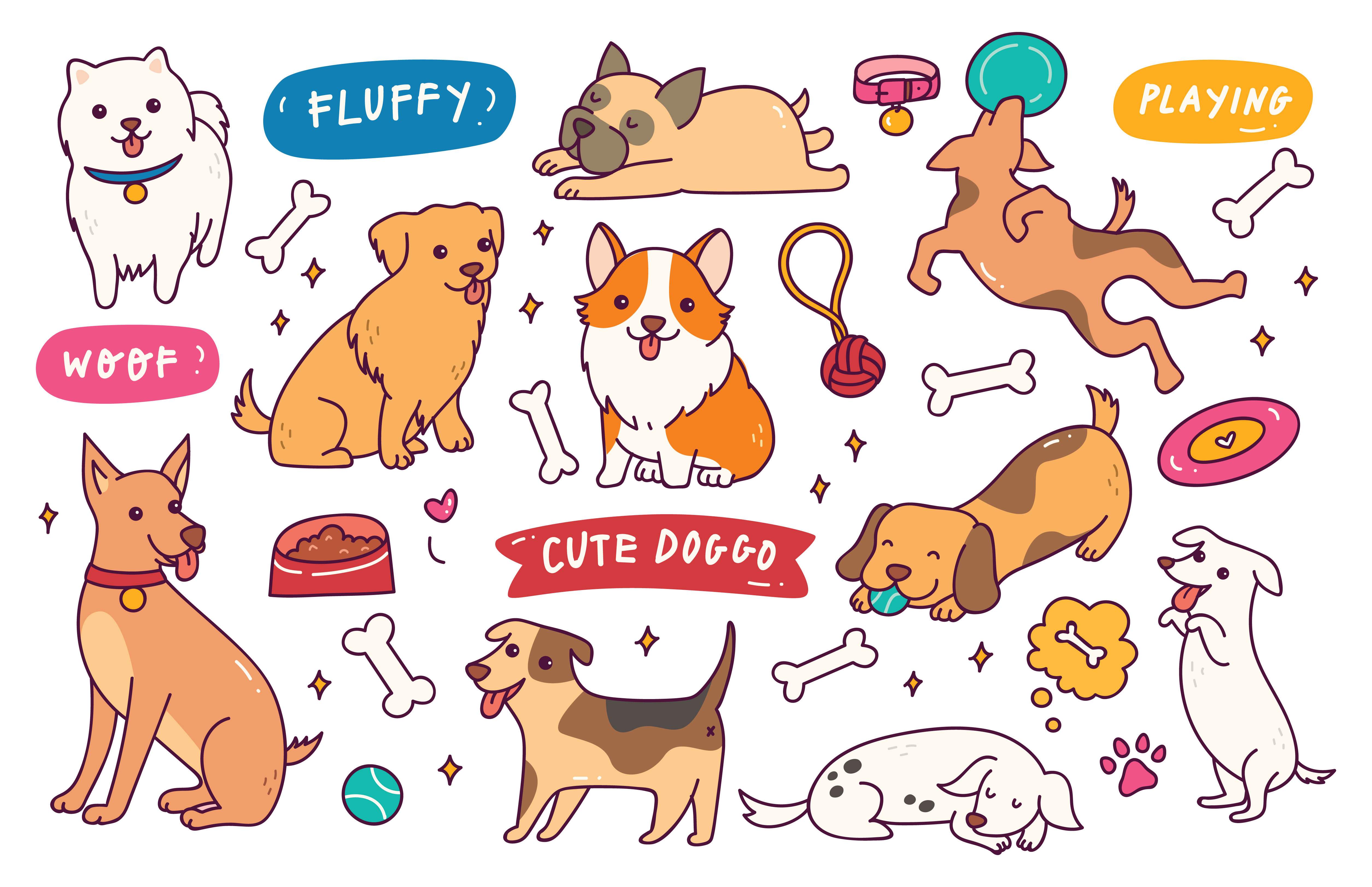 Download Free Dog Pose Hand Drawn Doodle Collection Graphic By Big Barn for Cricut Explore, Silhouette and other cutting machines.