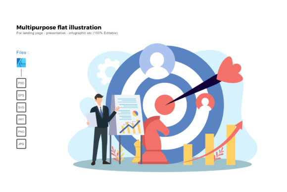 Download Free Flat Illustration Target Marketing Graphic By Rivatxfz for Cricut Explore, Silhouette and other cutting machines.