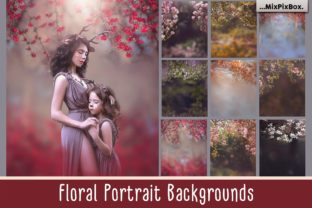 Print on Demand: Floral Portrait Backgrounds Graphic Layer Styles By MixPixBox