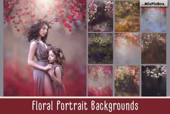 Print on Demand: Floral Portrait Backgrounds Gráfico Estilos de capas Por MixPixBox