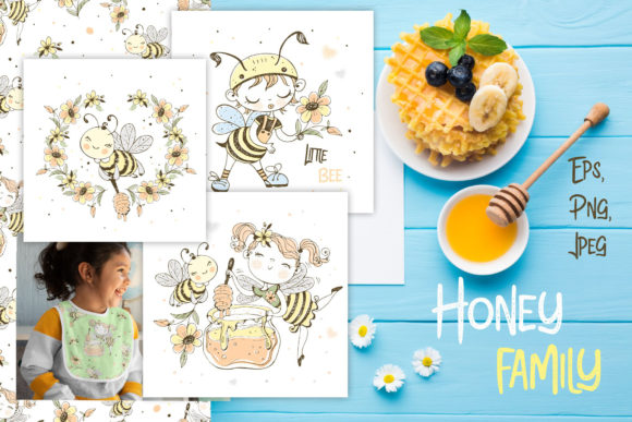 Honey Family Grafik Illustrationen von grigaola