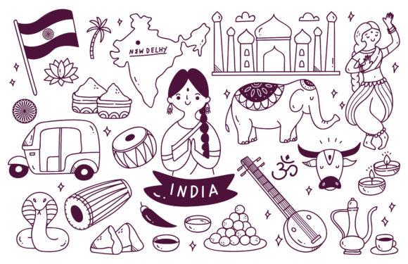 Download Free India Travel Destination Doodle Set Graphic By Big Barn Doodles for Cricut Explore, Silhouette and other cutting machines.