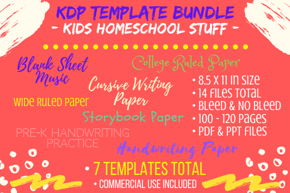 Print on Demand: KDP Interiors - Kids Home School Bundle Gráfico Páginas KDP Por Tomboy Designs