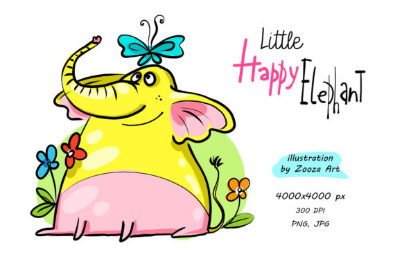Print on Demand: Little Happy Elephant - Illustration Graphic Illustrations By Zooza Art