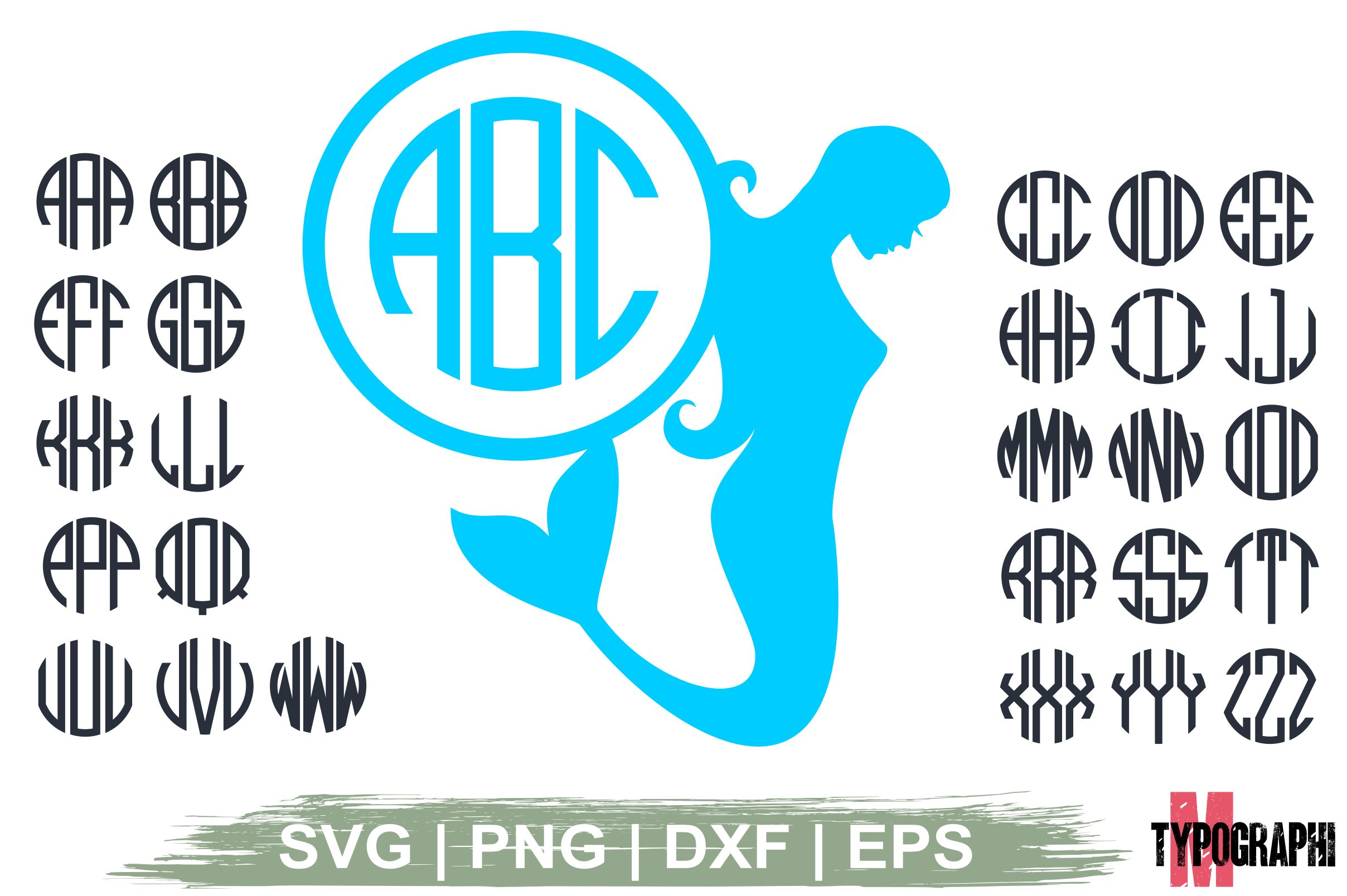 Download Free Mermaid Silhouette Monogram Letters Graphic By Typography for Cricut Explore, Silhouette and other cutting machines.