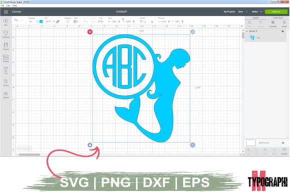 Print on Demand: Mermaid Silhouette Monogram | Letters Graphic Crafts By Typography Morozyuk - Image 2