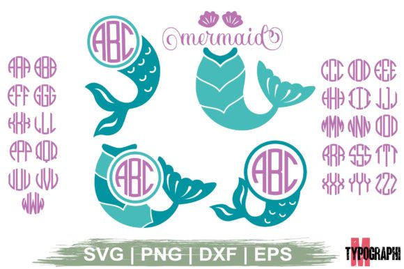 Download Free Mermaid Tail Monogram Circle Letters Graphic By Typography for Cricut Explore, Silhouette and other cutting machines.