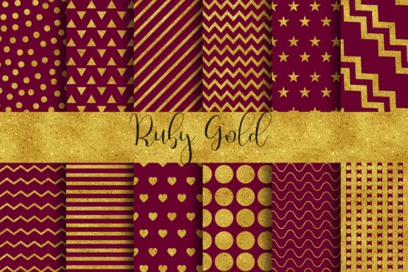 Ruby Gold Background Digital Papers Graphic Backgrounds By PinkPearly