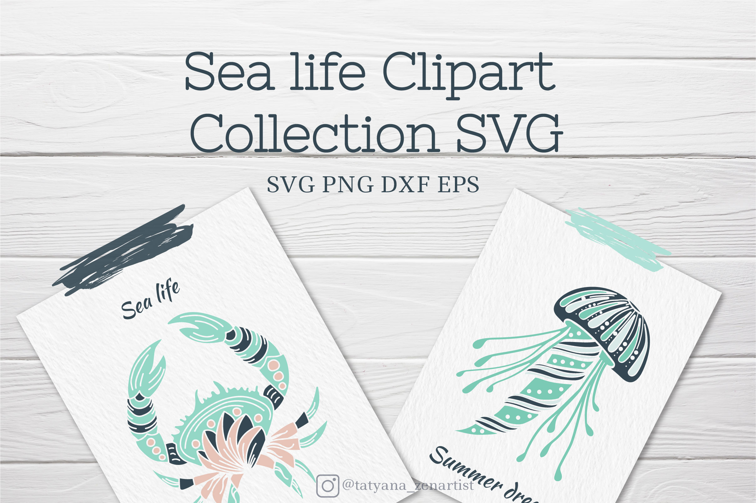 Download Free Sea Life Clipart Collection Graphic By Tatyana Zenartist for Cricut Explore, Silhouette and other cutting machines.