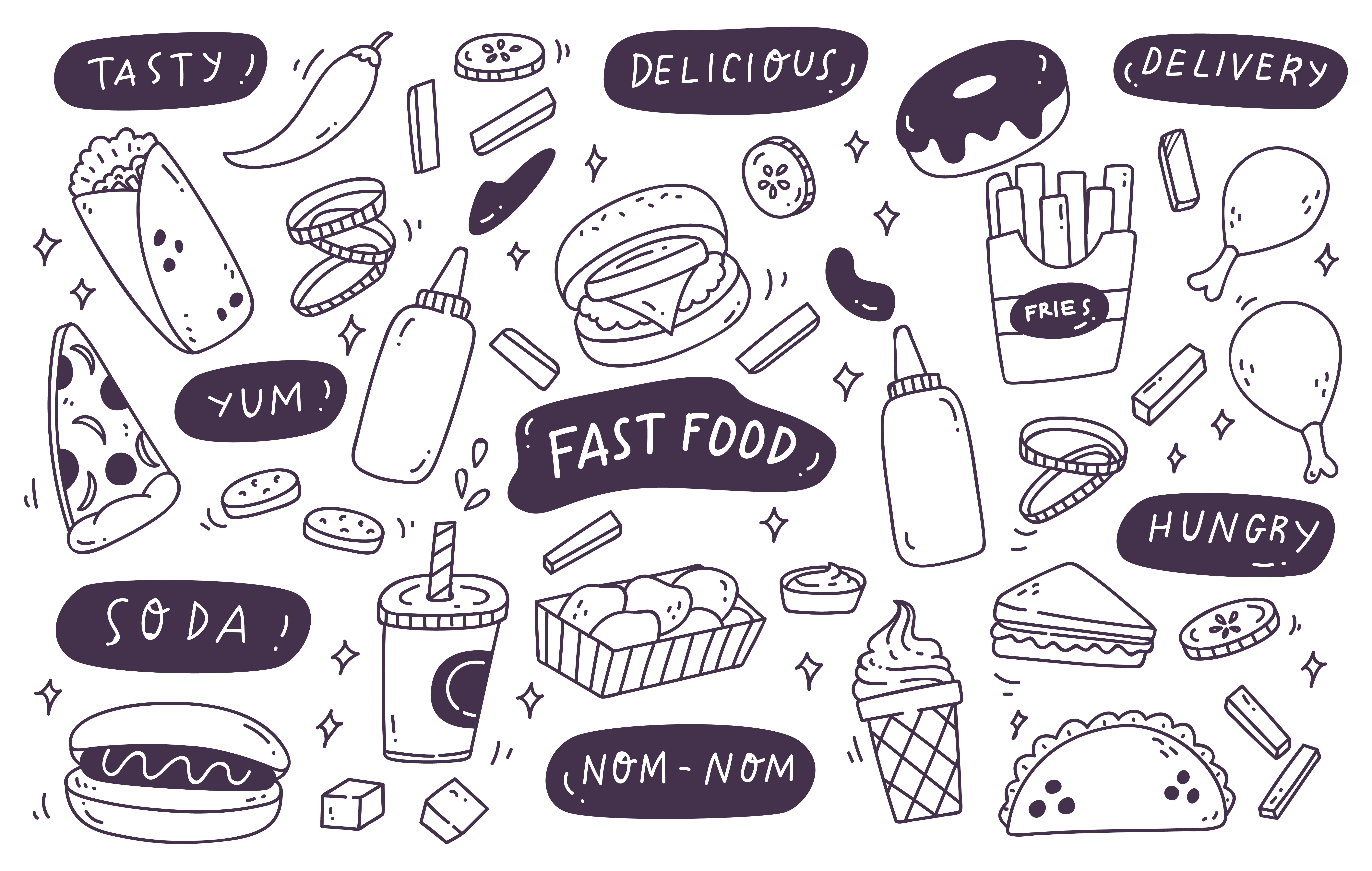 Download Free Set Of Hand Drawn Junk Food Doodle Graphic By Big Barn Doodles for Cricut Explore, Silhouette and other cutting machines.