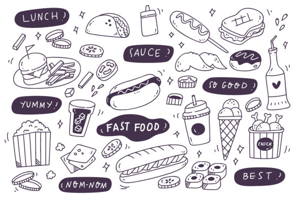 Download Free Set Of Hand Drawn Junk Food Doodle Graphic By Big Barn Doodles SVG Cut Files