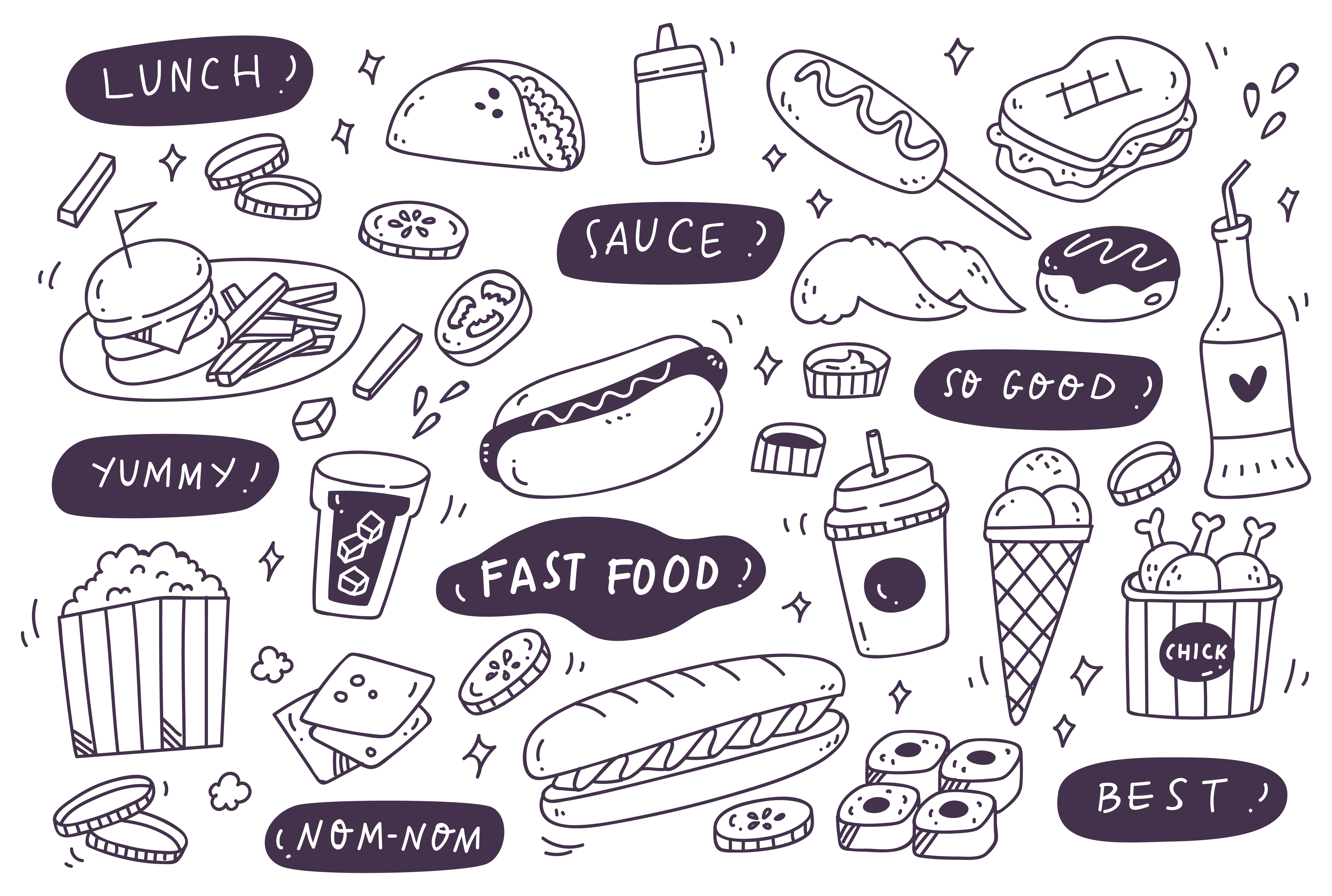 Download Free Set Of Hand Drawn Junk Food Doodle Graphic By Big Barn Doodles Creative Fabrica for Cricut Explore, Silhouette and other cutting machines.